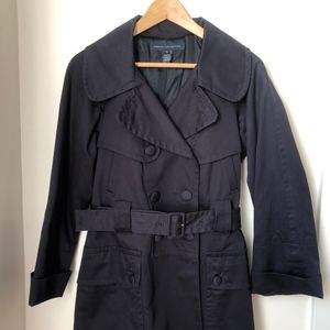 French Connection Navy Belted Trench Coat